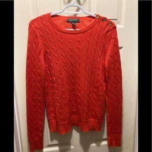 Lauren Ralph Lauren orange cable knit sweater MP